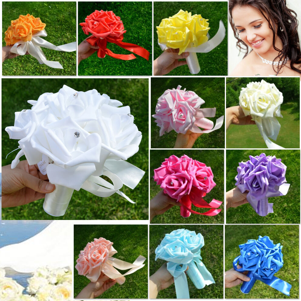 Wedding Party Bridesmaid Bouquet Artificial Flower Rose Ribbon Bridal Decoration