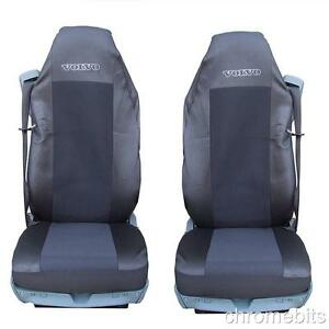 2 pair black fabric tailored seat covers for volvo trucks fh12 fh 16 fl fm fh16 ebay. Black Bedroom Furniture Sets. Home Design Ideas