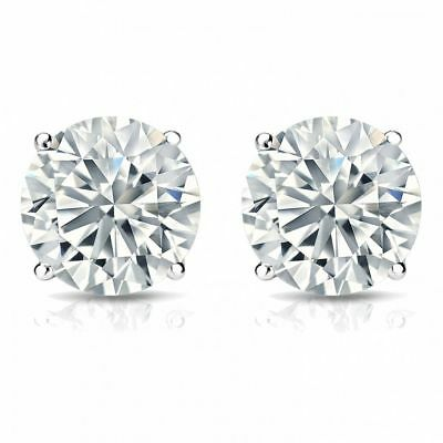 0.60 Cts F/VS1 GIA Round Brilliant Cut Natural Diamond Stud Earrings In 18K Gold 2