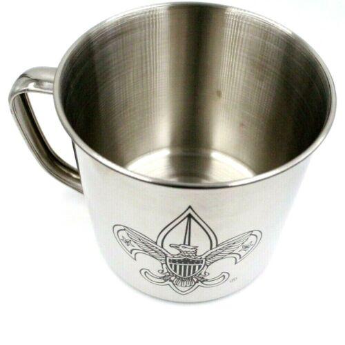 Large Fleur-de-Lis Metal Camp Mug Boy Scouts BSA Logo on Both Sides