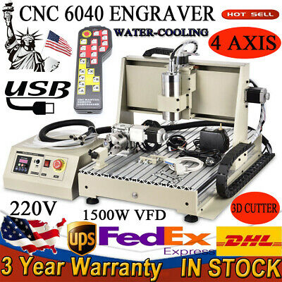 4 Axis Cnc 6040 Router Carver Engraving Usb Machine 1500w Vfd Control Box