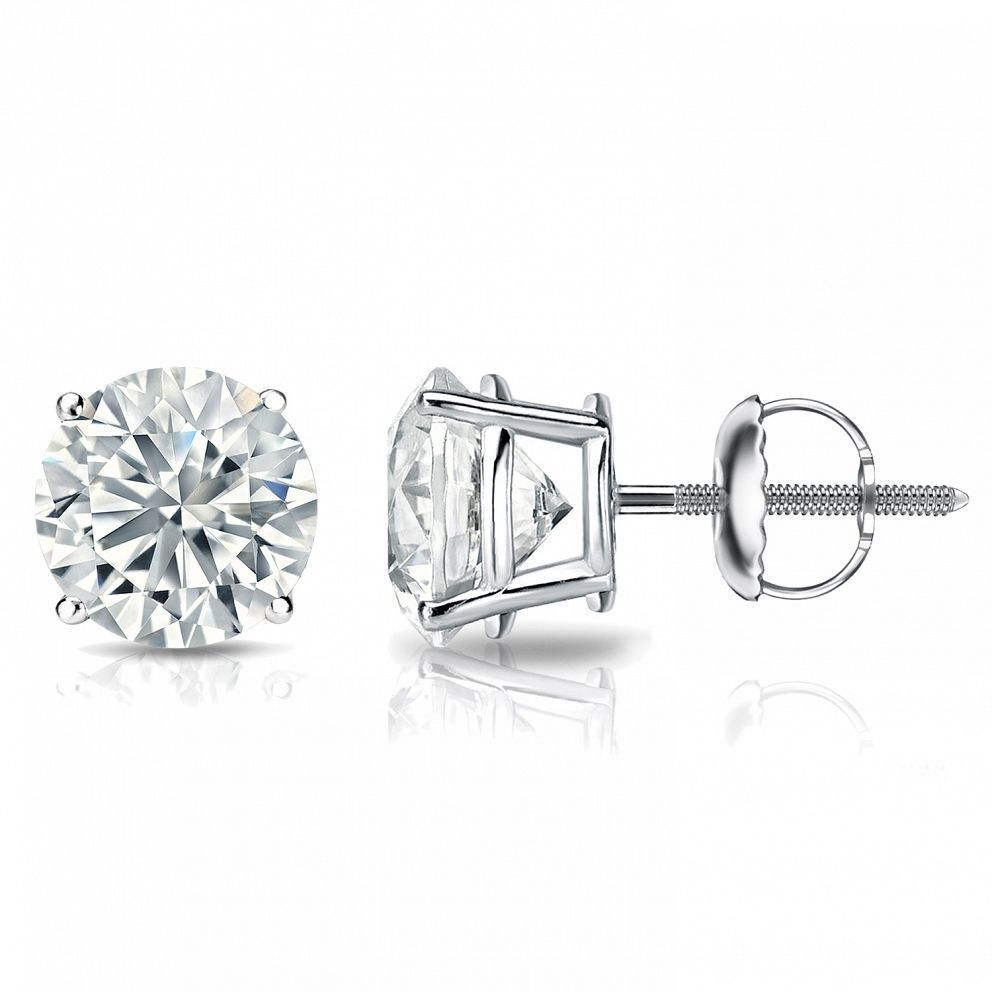 0.60 Carats F/VS1 GIA Natural Diamond Stud Earrings In Solid Certified 18K Gold