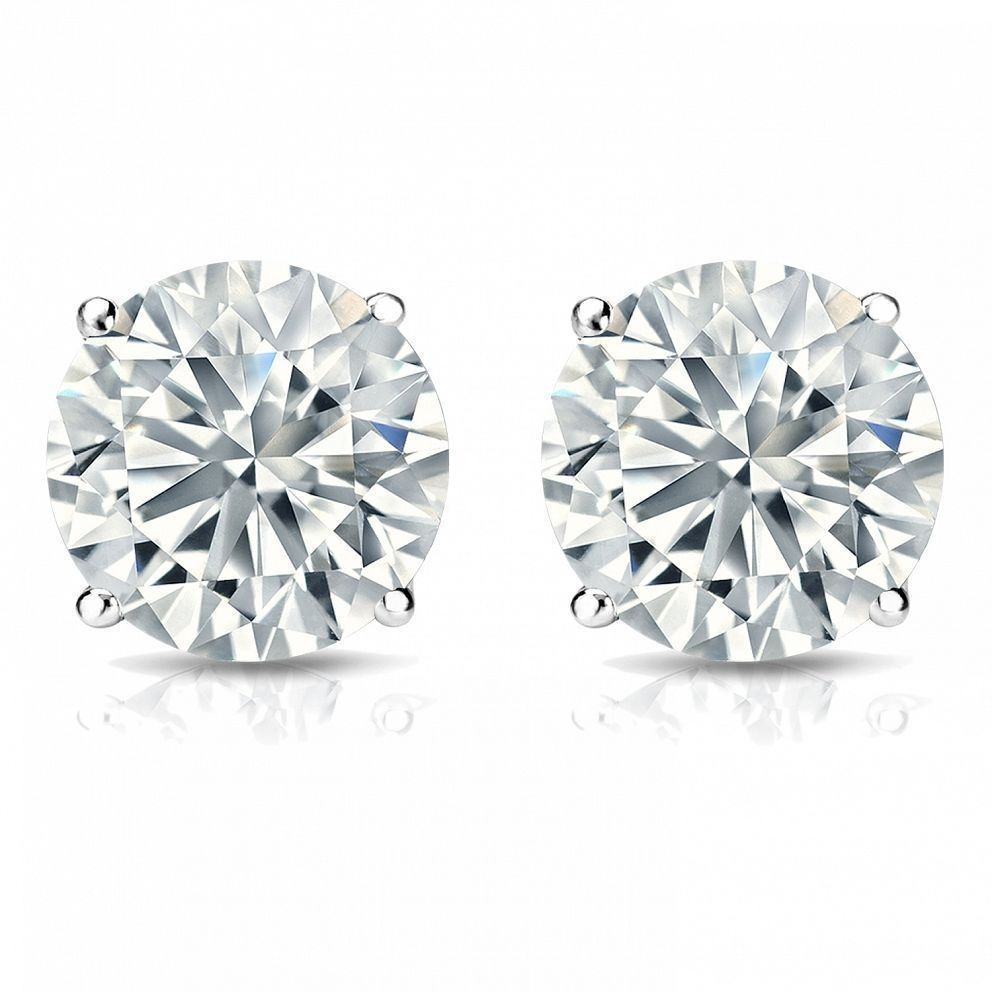 Classy 0.60 Cts F/VS1 GIA Natural Diamonds Stud Earrings In Solid 18K White Gold