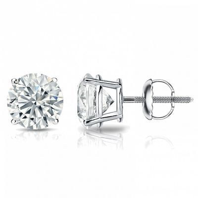 0.60 Cts F/VS1 GIA Natural Diamond Stud Earrings In Fine Hallmark 18K White Gold
