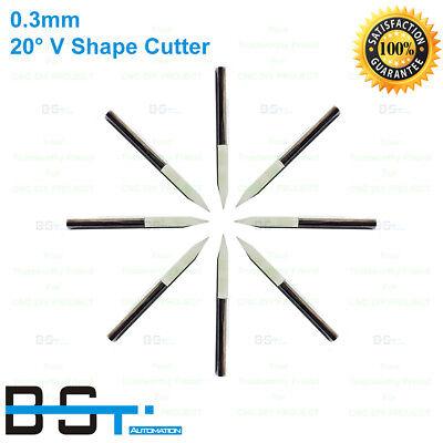 3.175mm 20 Degree 0.3mm V Shape Flat Bottom Carbide Pcb Engraving Milling Cutter