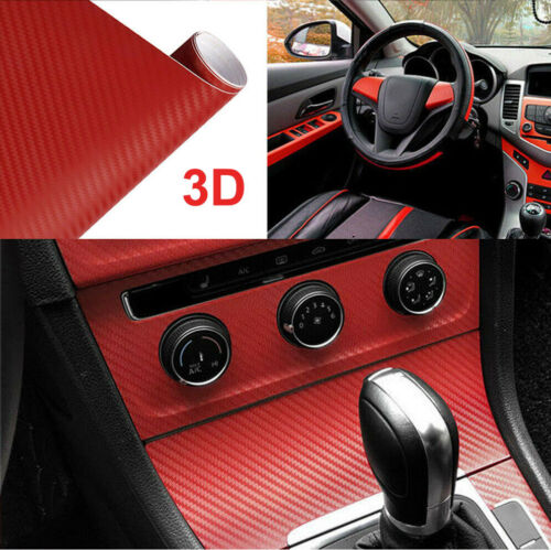 3D Car/tablet Red Interior Accessories Carbon Fiber Vinyl Wrap Sticker 11.8″x39″ Car & Truck Parts