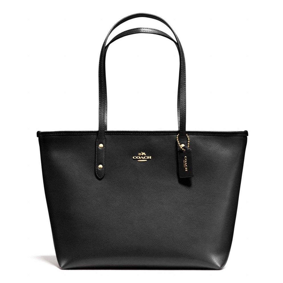Coach - New Coach F58846 City Zip Tote In Crossgrain Leather Handbag Black Gold Hardware