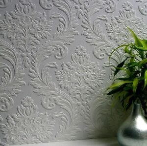 Textured Vinyl white paintable wallpaper (Damask Design) - A4 SAMPLE -