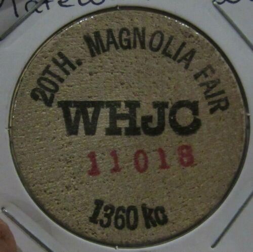 Vintage WHJC 1360 AM Matewan, WV Wooden Nickel - Token West Virginia