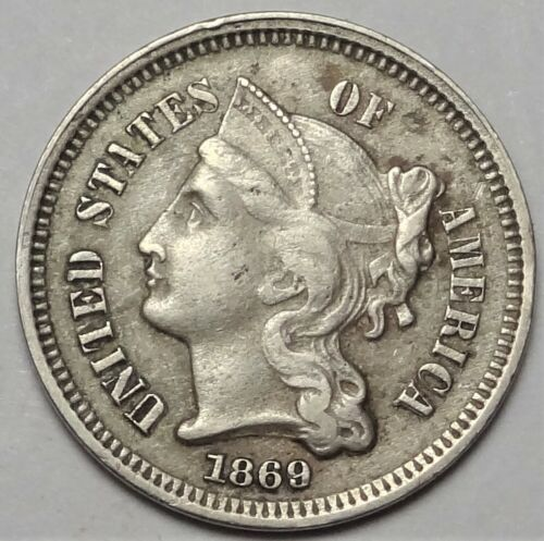1869/1869 Three Cent Nickel Extremely Fine XF Scarce RPD FS-302 3CN Type Coin #2