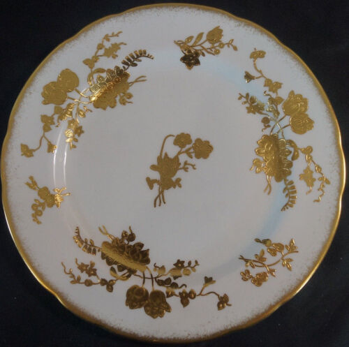 Set of 4 Hammersley 11657 Gold Floral Porcelain Dinner Plates Circa 1939 - 1940s