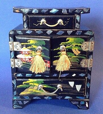 Wooden Japanese Jewelry Box Beautifully Handpainted With Inlaid Mother Of Pearl