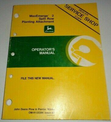 John Deere Maxemerge 2 Split Row Planting Attachment Operators Manual Planter Jd