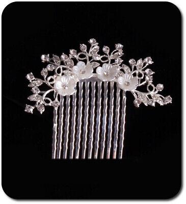 Haircomb Arreglo Del Pelo Boda Kammen Metal Novia Flores Estrás Esmalte Nácar