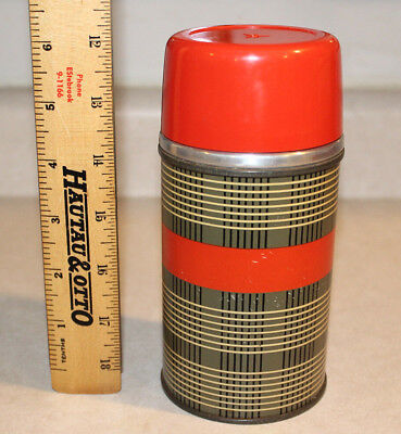 Vintage Aladdin Best Buy 10 Ounce Thermos Vacuum Bottle Red Black Gray Plaid