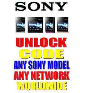 UNLOCK CODE FOR SONY XPERIA E J SP TIPO T TS TL BILLABONG TX U Z MIRO & MORE