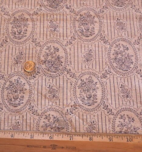 French Antique 1900s Blue Linen Small Scale Chinoiserie Toile Fabric W/Border