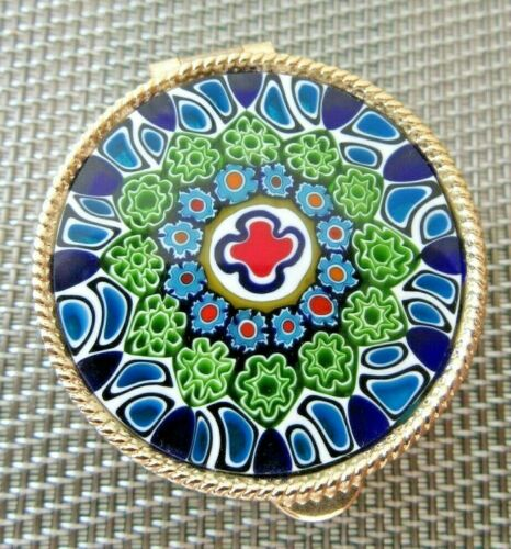 ITALIAN SIGNED MURANO MILLEFIORI PILL BOX BLUE, GREEN & RED GLASS GOLD TONE BOX