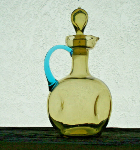 Antique/vintage, hand-blown,olive & blue art glass, collectible Cruet with stopp