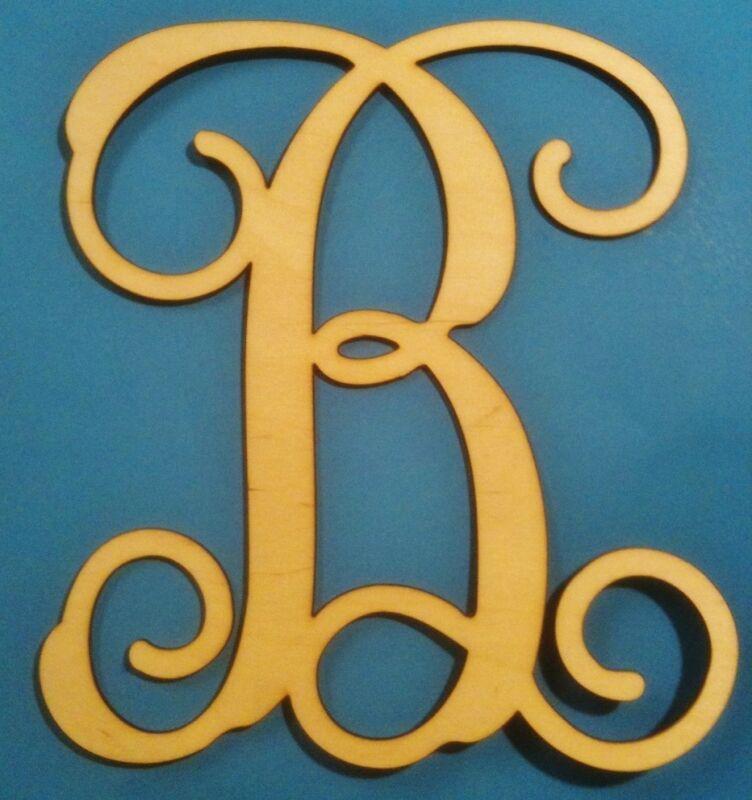 """12"""" Wooden Interlocking Vine Letter Unfinished Wood Room Decor Custom Letter"""
