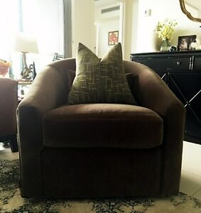 Coco Republic accent swing chair in mocha velvet Hamilton Brisbane North East Preview