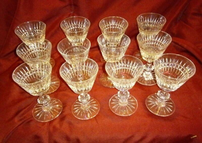 Set of 12 vintage Tiffin-Franciscan Surrey pattern crystal cocktail stem glasses