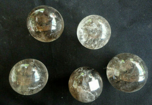 LOT OF 5 SPHERES --- SMOKY QUARTZ WITH RAINBOWS INSIDE - MG , BRAZIL !