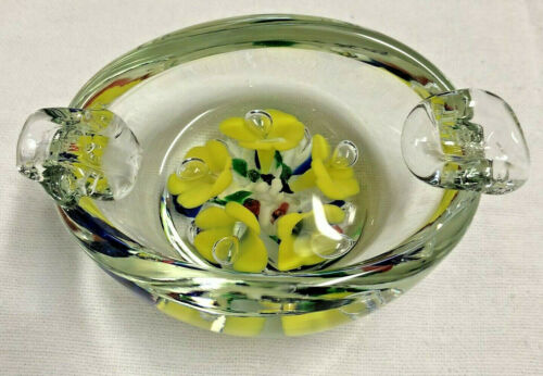 Joe St. Clair Controlled Bubble Trumpet Flower Art Glass Ashtray Paperweight