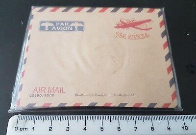 10 Vintage Envelopes Mini Retro Airmail Brown Kraft Paper UK SHOP VIA AEREA