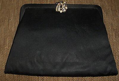 1950s Handbags, Purses, and Evening Bag Styles 1950s Julius Resnick BLACK Handbag USA Rhinestone Evening Clutch w/Purse $39.99 AT vintagedancer.com