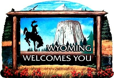Wyoming State Welcome Sign Artwood Fridge Magnet