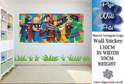 Lego Wall Sticker Marvel Avengers Kids Bedroom extra large kids wall decal .