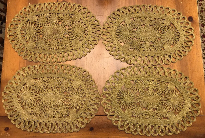 Vintage Abaca Hemp Woven Green Placemat Set of 4 Made in the Philippines