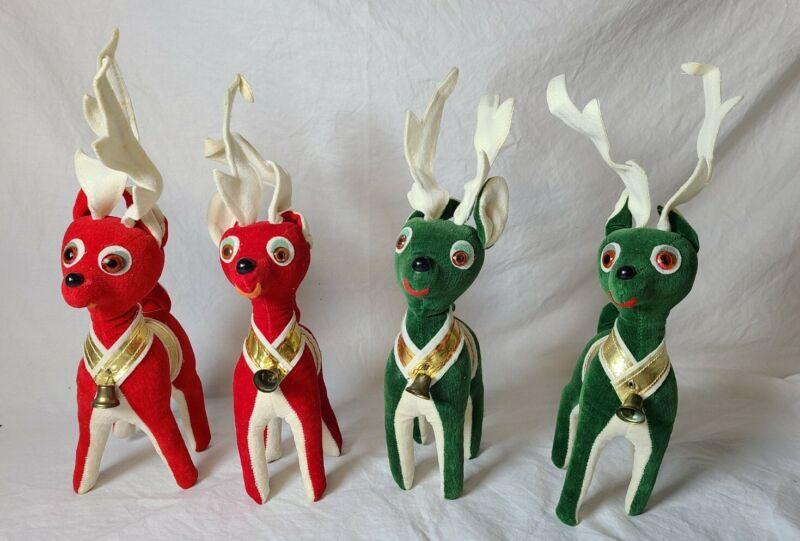 Vintage Stuffed Red & Green Velvet Felt Reindeer Christmas 4 pieces made Japan