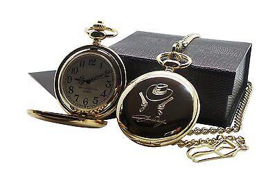 JOHN WAYNE GOLD Signed POCKET WATCH Luxury Gift Case Cowboy Hat & Guns Design