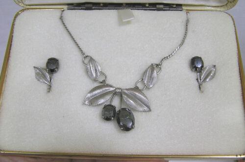 Vintage Jewelry Sterling Silver Necklace Earrings Leaves Fruit in Van Dell Box