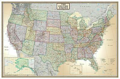 Wall Map Of The United States USA Road Travel Large Big Map Hanging Laminated ()
