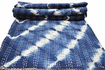Hand Block Print Quilt Kantha Königin indische Baumwolle Tagesdecke Bettdecke  ()