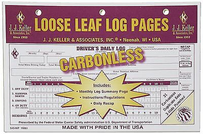 10-pack Jj Keller Carbonless Loose Leaf Log Pages Drivers Daily Log Book 545 Mp