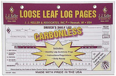 10-PACK JJ Keller Carbonless Loose Leaf Log Pages Driver's Daily Log Book 545 MP