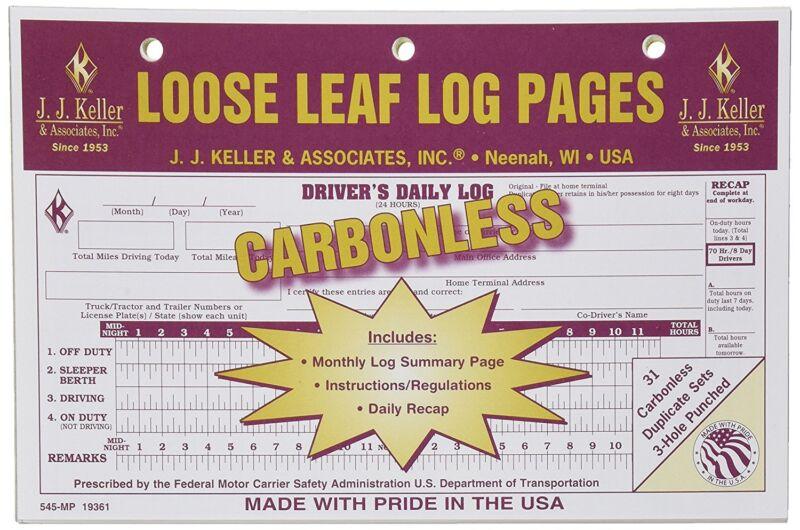 10-PACK JJ Keller Carbonless Loose Leaf Log Pages Driver