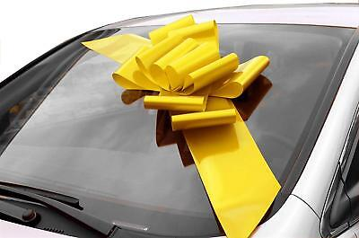 Car Bow (Big Yellow Car Bow Ribbon - Large Gift Decoration, Fully Assembled, 25