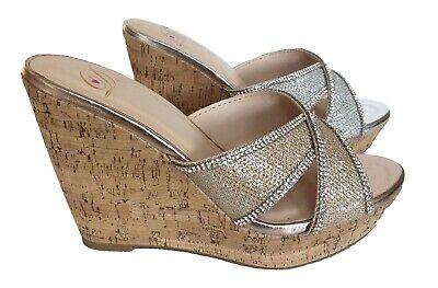 Silver Gold criss cross rhinestone Cork platform wedge slides sandals (Criss Cross Rhinestone)