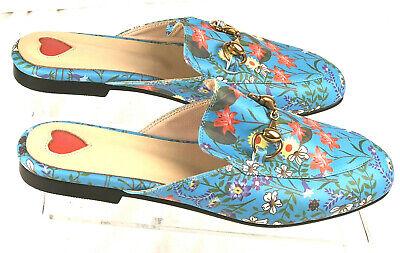 Leather Mule Turquoise Floral Print Flat Slip On Horsebit Shoes Size 250/ US 8