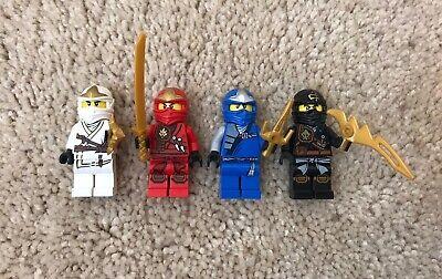 Lego Ninjago ZANE KAI JAY COLE Lot 4 Figures With Weapons VGUC Genuine