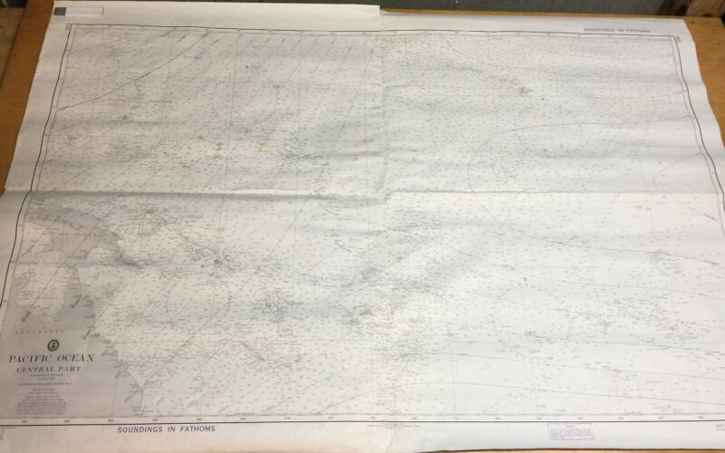 """Pacific Ocean Map- Central Part, Defense Mapping Agency 9/22/1979 54"""" x 35.5"""""""