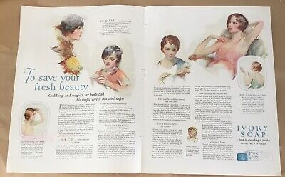 Ivory soap ad 1927 orig vintage print 20s art fashion illustration portraits