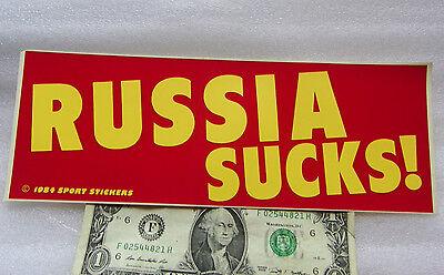 "Vintage 1984 Bumper Sticker RUSSIA SUCKS ! Yellow & Red 3"" x 9"" FREE SHIPPING"