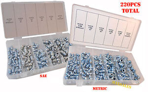 2 Sets Metric & SAE Hydraulic Lubrication Grease Zerk Fittings Assortment Set
