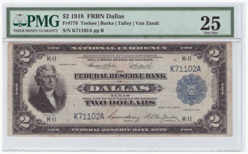 $2 1918 Federal Reserve Bank Note Dallas FR# 776 PMG 25